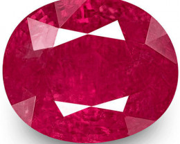 GII Certified Burma Ruby, 2.15 Carats, Rich Velvety Pinkish Red Oval