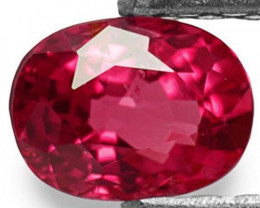 IGI Certified Mozambique Ruby, 0.39 Carats, Lustrous Pinkish Red Oval