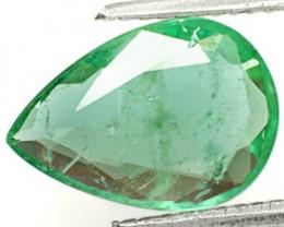 GII Certified Zambia Emerald, 2.05 Carats, Bluish Green Pear
