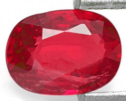 IGI Certified Burma Ruby, 0.67 Carats, Deep Pinkish Red Oval