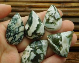 5pcs moss agate cabochon bead (G1153)