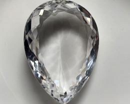 ⭐30.76ct Rock Crystal White Quartz Facet Pear No reserve