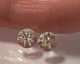 Glittering Silver White Topaz Pair 5.00mm VVS gems -