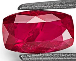 Mozambique Ruby, 1.08 Carats, Pinkiish Red Cushion