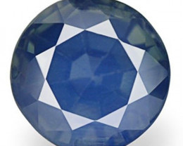 IGI Certified Kashmir Blue Sapphire, 0.71 Carats, Deep Greenish Blue Round