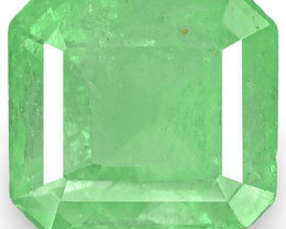 Colombia Emerald, 3.37 Carats, Lustrous Pastel Green Emerald Cut