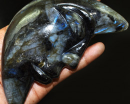 Genuine 1666.00 Cts Blue Flash Labradorite Carved Moon Face