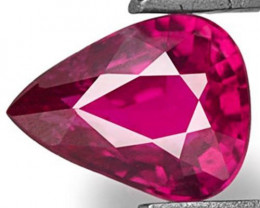 Mozambique Ruby, 0.44 Carats, Deep Pinkish Red Pear