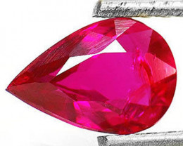 IGI Certified Burma Ruby, 0.76 Carats, Vivid Purplish Red Pear