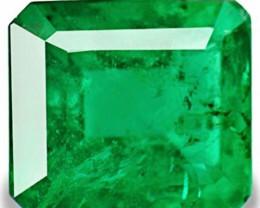 Zambia Emerald, 1.64 Carats, Lustrous Velvet Green Emerald Cut