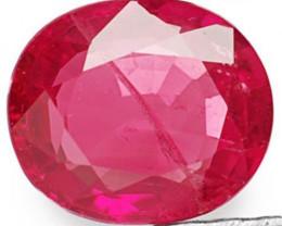 IGI Certified Burma Ruby, 0.56 Carats, Vivid Pinkish Red Oval