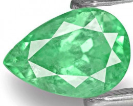 Colombia Emerald, 1.36 Carats, Vivid Bluish Green Pear
