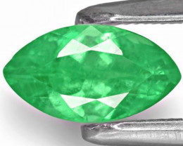 Colombia Emerald, 0.55 Carats, Velvety Intense Green Marquise