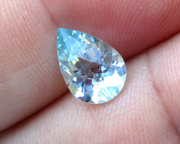 1.99cts Natural Aquamarine Checker Board Pear Shape