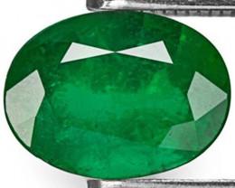 GII Certified Brazil Emerald, 1.42 Carats, Deep Velvet Green Oval