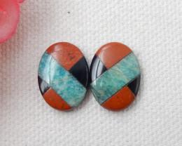 Intarsia gemstone pair, red river jasper,amazonite,obsidian intarsia caboch