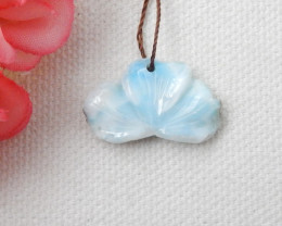 Beautiful Larimar Pendant,Carved Flower Pendant,Carved Larimar Gemstone D78