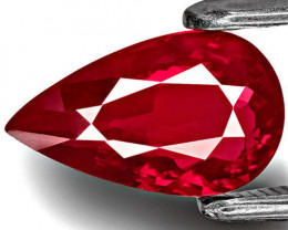 GIA Certified Mozambique Ruby, 1.59 Carats, Intense Magenta Red Pear