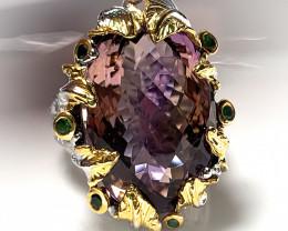 'Violet Rapture' An Ametrine Tsavorite ring Beyond Par Size 8