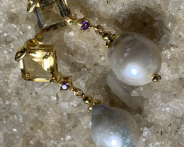 Opulent Pearl Citrine Amethyst Gold and Sterling Silver .925 Earrings