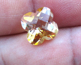 4.11cts Golden Yellow Citrine Flower Checker Board Shape