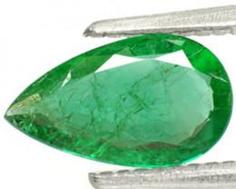 Zambia Emerald, 0.91 Carats, Intense Green Pear
