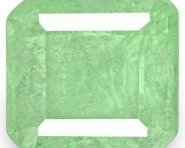 Colombia Emerald, 3.42 Carats, Lustrous Bluish Green Emerald Cut