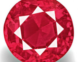 Tanzania Ruby, 0.93 Carats, Rich Orangish Pinkish Red Round