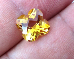 4.34cts Golden Yellow Citrine Flower Checker Board Shape