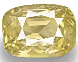 IGI Certified Sri Lanka Yellow Sapphire, 8.15 Carats, Light Yellow Cushion