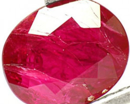 AIGS Certified Mozambique Ruby, 1.06 Carats, Deep Purplish Red Oval