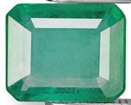 Zambia Emerald, 1.46 Carats, Light Green Emerald Cut