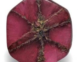 Burma Trapiche Ruby, 1.39 Carats, Pinkish Red Hexagonal