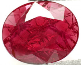 AIGS Certified Mozambique Ruby, 2.26 Carats, Magenta Red Oval