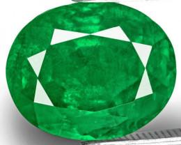 Zambia Emerald, 4.87 Carats, Velvety Deep Green Oval
