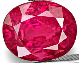 IGI Certified Mozambique Ruby, 2.86 Carats, Fiery Rich Pinkish Red Oval