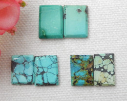 3pairs Square Turquoise ,Handmade Gemstone ,Turquoise Cabochons ,Lucky Ston