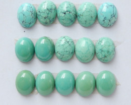 1 Set Oval Turquoise ,Handmade Gemstone ,Turquoise Cabochons ,Lucky Stone D