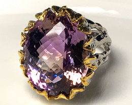 Memorable Large  Ametrine Gold and Silver Ring Size 8.5 Gorgeous