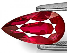 AIGS Certified Mozambique Ruby, 2.03 Carats, Vivid Pigeon Blood Red Pear