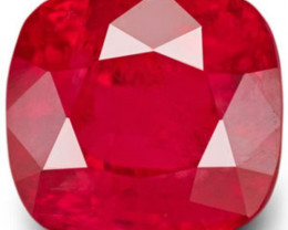 IGI Certified Vietnam Ruby, 7.54 Carats, Deep Lustrous Pinkish Red Cushion