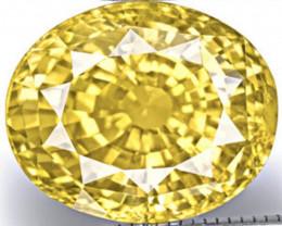 IGI Certified Sri Lanka Yellow Sapphire, 12.69 Carats, Fiery Yellow Oval