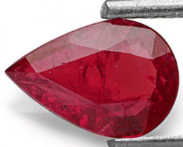 IGI Certified Mozambique Ruby, 0.81 Carats, Deep Purplish Red Pear