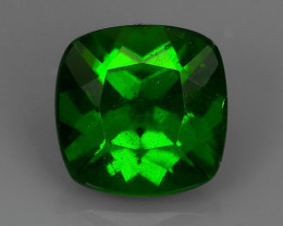 1.45 CTS NATURAL ULTRA RARE CHROME GREEN DIOPSIDE 7MM CUSHION RUSSIA