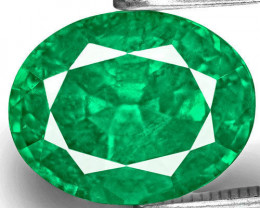 Zambia Emerald, 3.65 Carats, Lustrous Green Oval