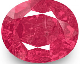 GRS Certified Burma Ruby, 3.49 Carats, Lustrous Pinkish Red Oval