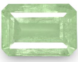Colombia Emerald, 6.15 Carats, Pale Green Emerald Cut