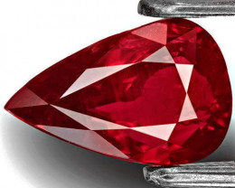 GRS Certified Mozambique Ruby, 2.02 Carats, Deep Red Pear