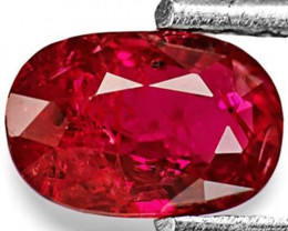 IGI Certified Mozambique Ruby, 0.77 Carats, Deep Pinkish Red Oval