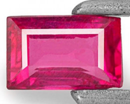 Mozambique Ruby, 0.43 Carats, Deep Pinkish Red Baguette